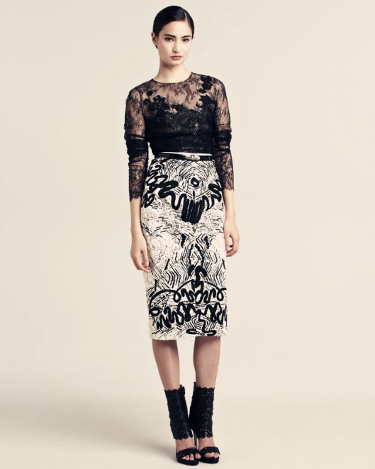 Oscar-de-la-Renta-Chantilly-Lace-Blouse-Embroidered-Guipure-Skirt_副本